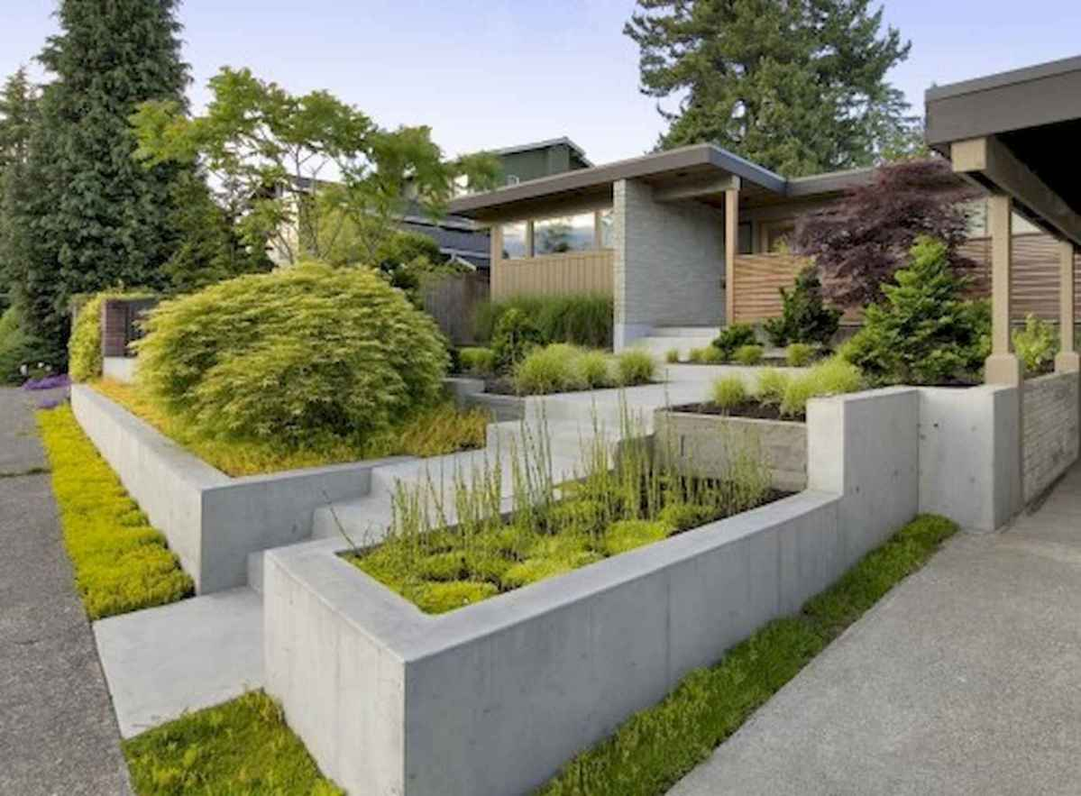 Simple clean modern front yard landscaping ideas (49)