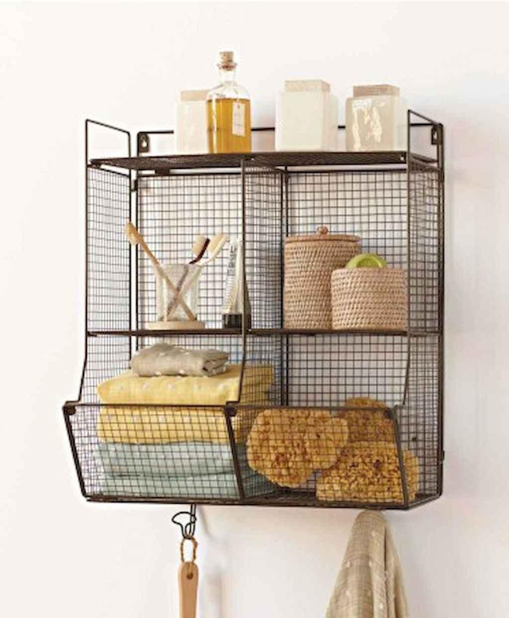 Cool bathroom storage shelves organization ideas (23)