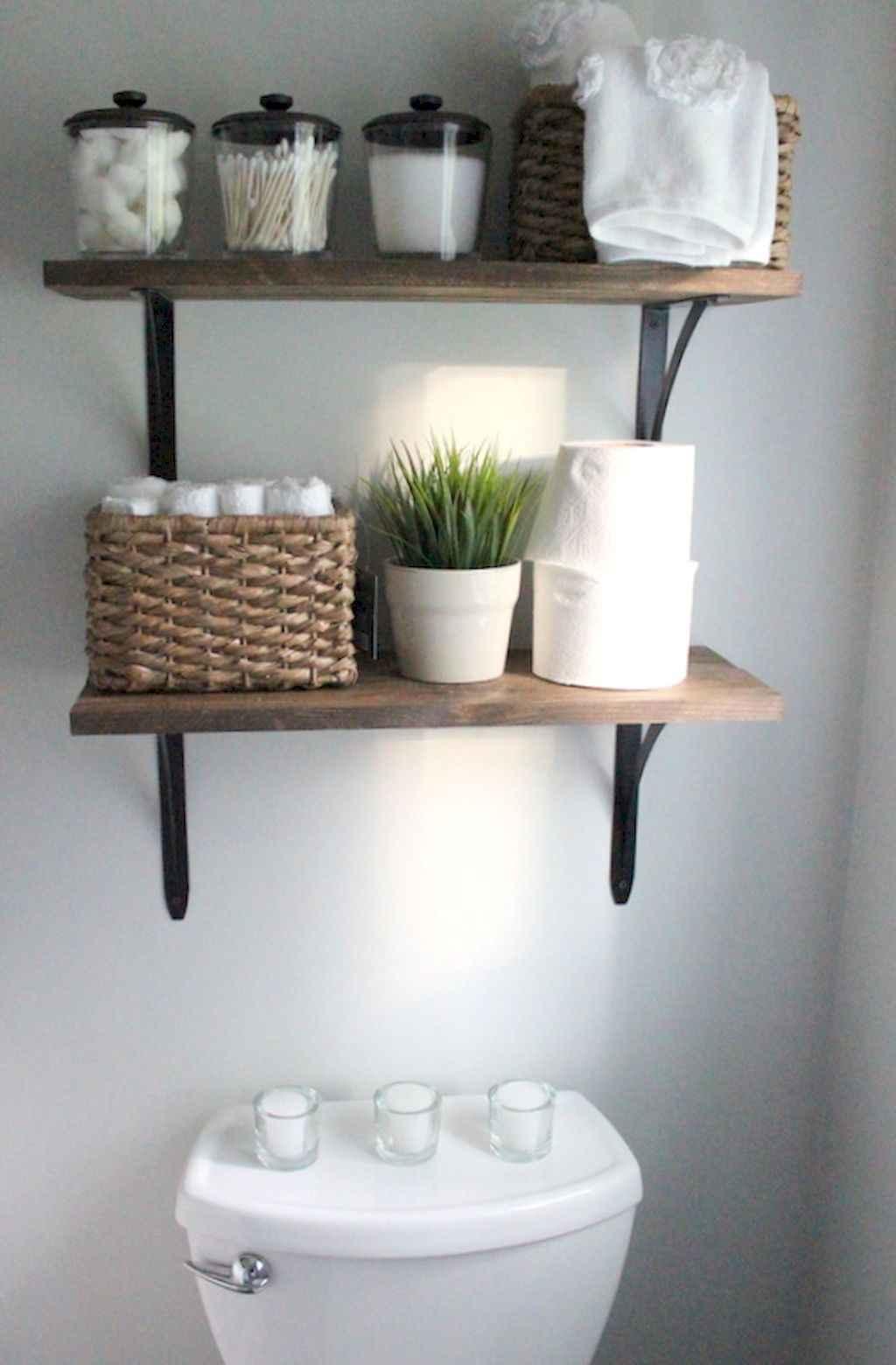 Cool bathroom storage shelves organization ideas (38)