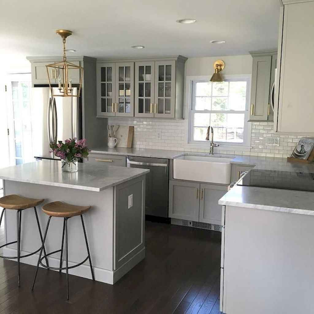 Gorgeous gray kitchen cabinet makeover ideas (17)