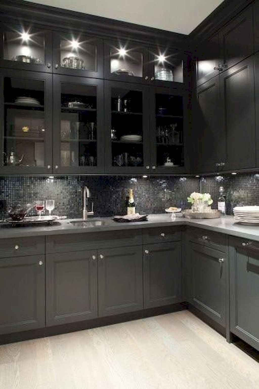 Gorgeous gray kitchen cabinet makeover ideas (53)