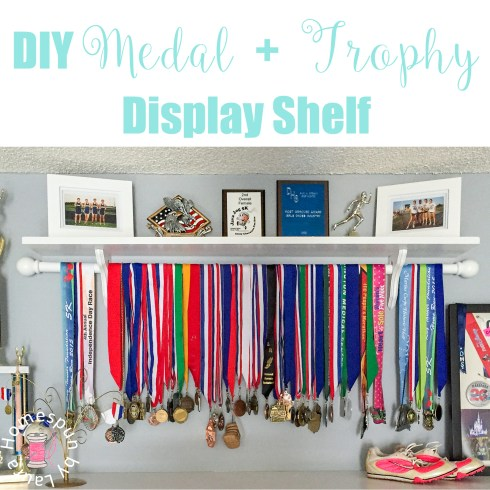 DIY Medal + Trophy Display Shelf | Homespun by Laura | DIY shelf to display running, swimming, biking, sports medals