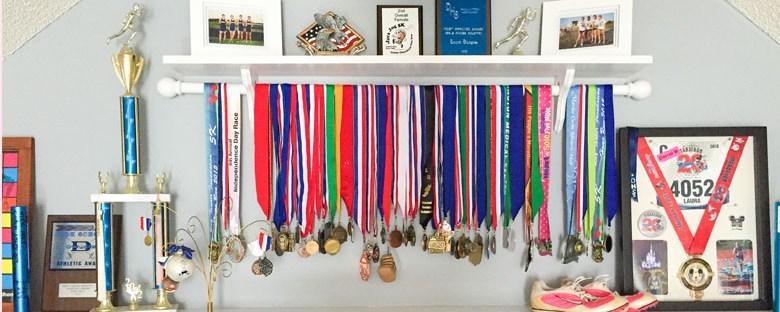 DIY Medal + Trophy Display Shelf | Homespun by Laura | DIY shelf to display running, swimming, biking, sports medals