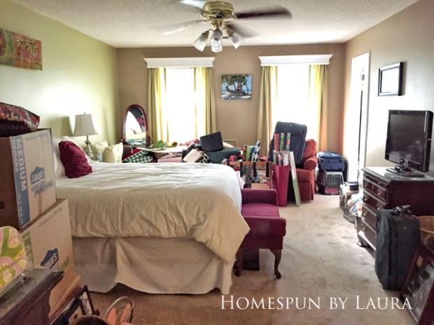 Master bedroom refresh: old French door headboard | Homespun by Laura | Carpet installation