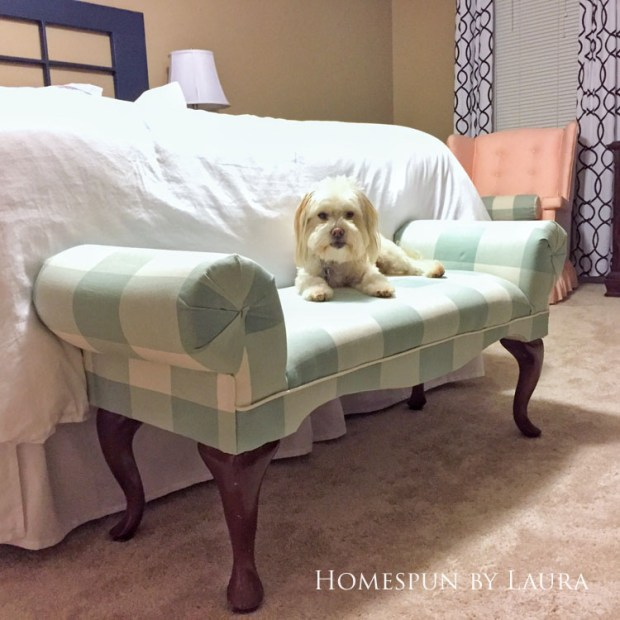 Master bedroom refresh | Homespun by Laura | Upholstered bench