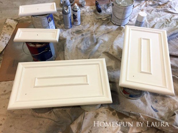 $75 DIY Powder Room (and Pantry!) Update: One Room Challenge Week 2 | Homespun by Laura | DIY vanity update: Priming the cabinet doors