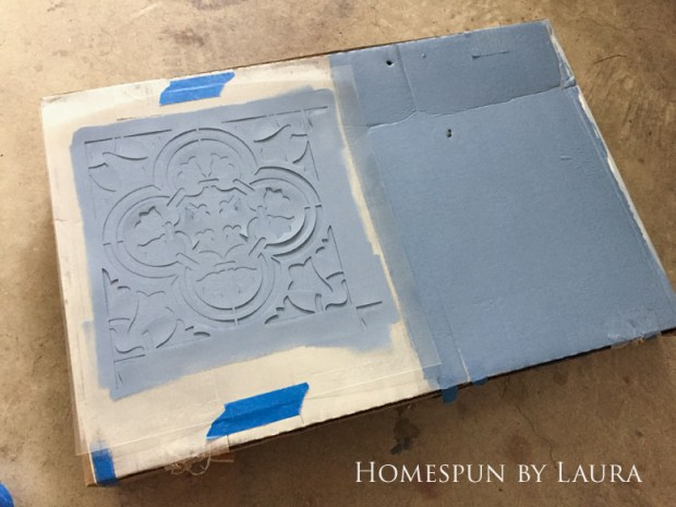 "$75 DIY Powder Room (and Pantry!) Update: One Room Challenge Week 3 | Homespun by Laura | Potential floor designs: Cutting Edge ""Augusta"" stencil"