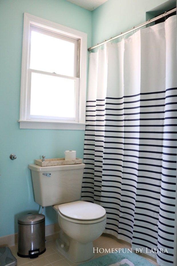 The $200 Master Bathroom Refresh | Homespun by Laura | A new shower curtain configuration changed the feel of the room.