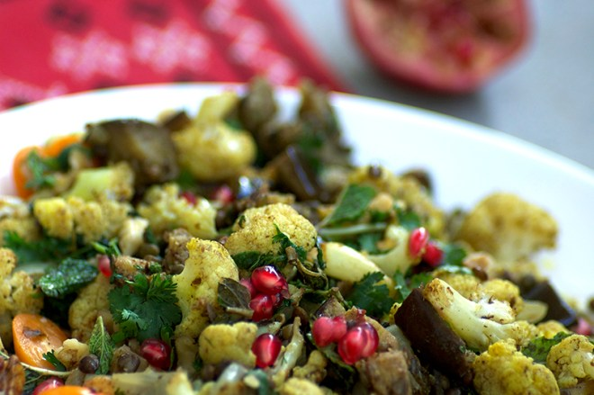 Sumac Roasted Eggplant and Cauliflower Salad - Homespun Capers