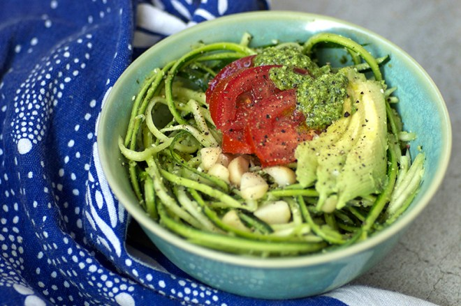 Macadamia and Basil Pesto and Zucchini Noodle Salad - Homespun Capers