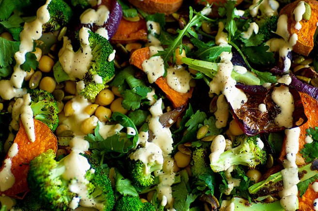 Chickpea and Broccoli Salad with Harissa Cashew Dressing - Homespun Capers