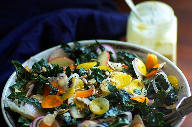 Kale and Apple Salad with Orange Tahini Dressing - Homespun Capers