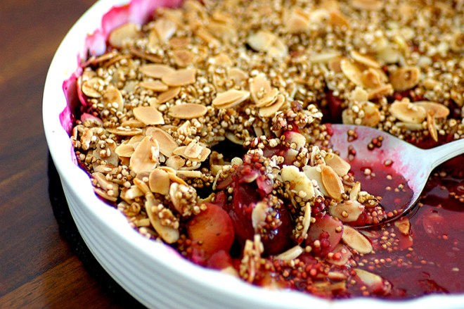 Black Peppered Plum and Almond Crumble - Homespun Capers