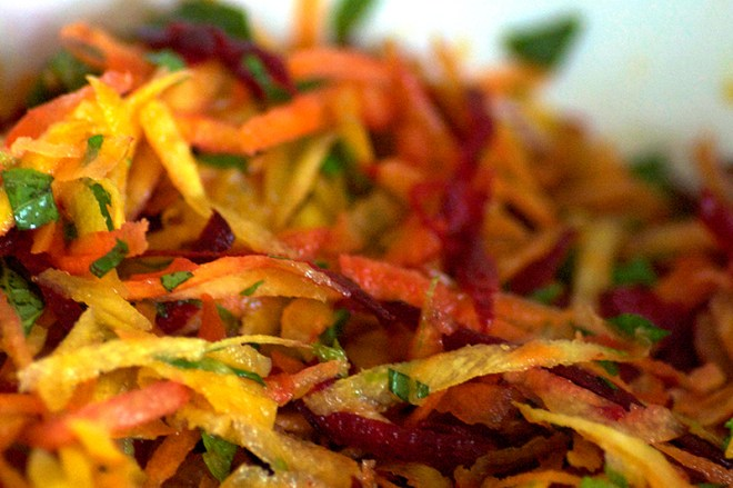 Rainbow Slaw with Maple Paprika Tempeh - Homespun Capers