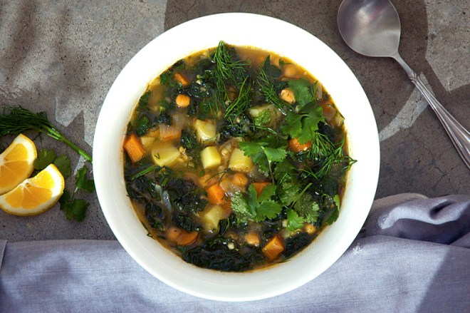 Harissa Spiced Chickpea and Buckwheat Soup - Homespun Capers