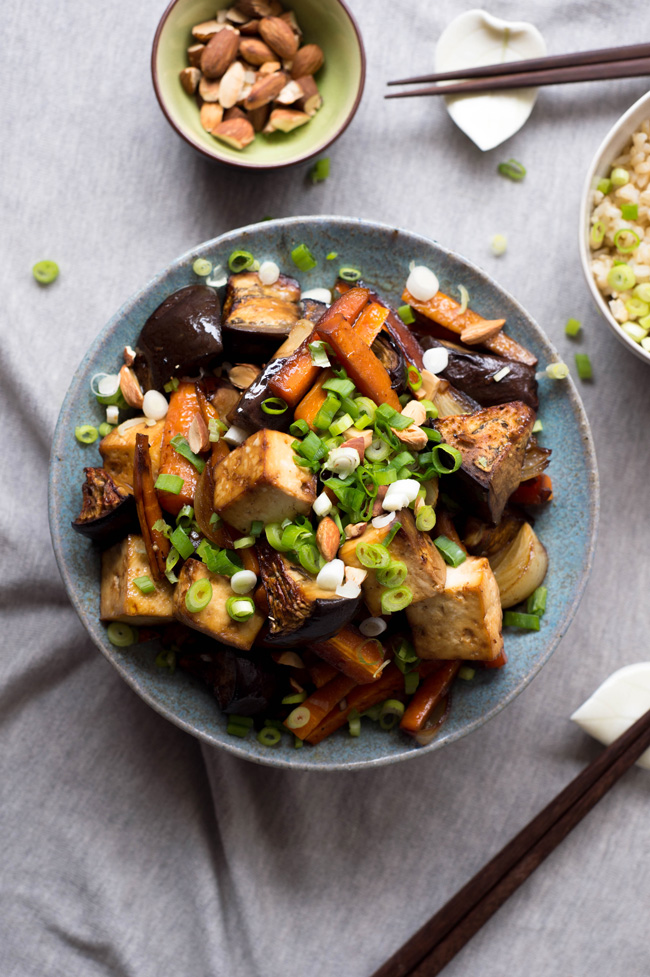 Double Onion Baked Tofu with Eggplant - an easy, weeknight friendly meal that comes together in 30 min. Vegan and gluten free.