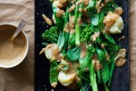 Magic Miso Almond Sauce on Steamed Greens and New Potatoes | Immune boosting probitioc and prebiotic almond butter and miso sauce! Super tasty and easy alternative to satay. Vegan, quick, gluten free,