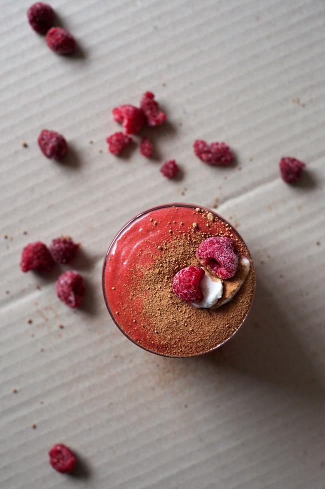 Super Red Velvet Smoothie | A delicious goji berry, raspberry and cacao smoothie with creamy almond and cacao butters. Full of antioxidants! Dairy free, gluten free, refined sugar free, and vegan.