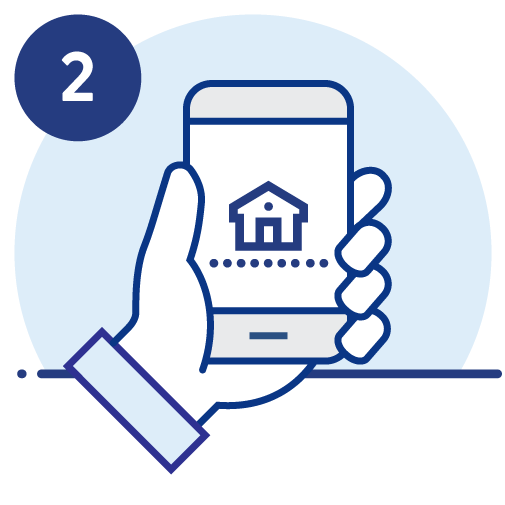 Hand holding a phone with house on the screen icon