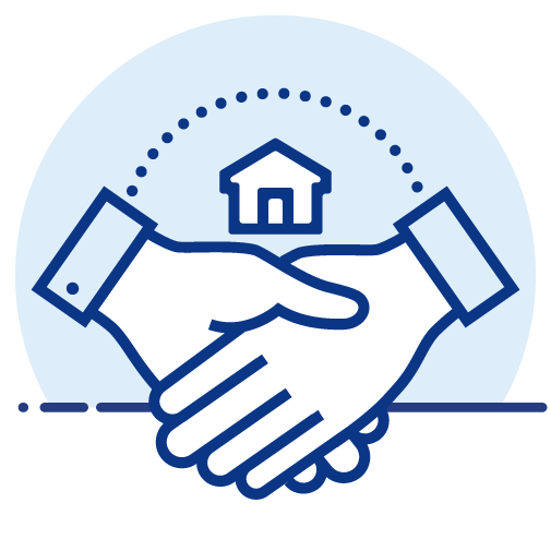 Handshake with a house on the background icon
