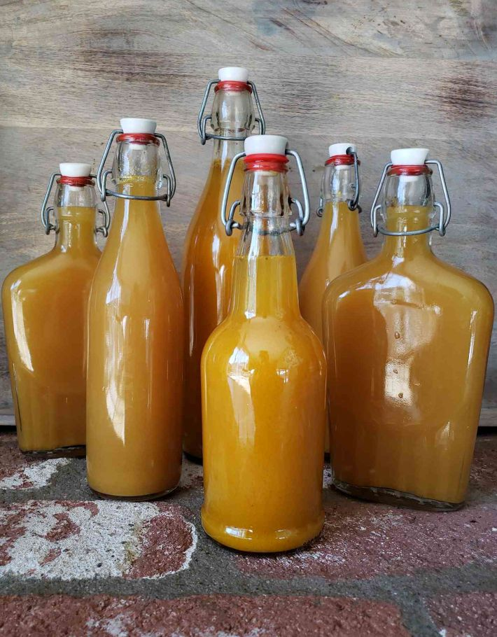 Six glass swing-top bottles of various sizes full of finished bright orange fire cider, ready to store and drink.
