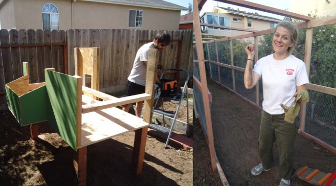 Two photos of Deanna and Aaron in the process of building their coop. One shows Aaron with the frame of the coop on legs, and the other shows Deanna in the long enclosed run.