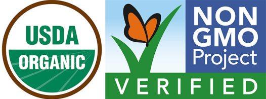 The USDA certified organic logo, and non-GMO verified logo