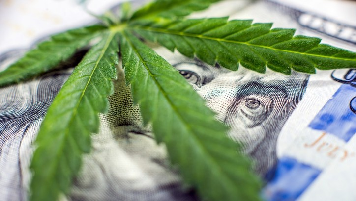 A stock image of a cannabis leaf laying over a dollar bill. George Washington peers out from behind the cannabis leaf.