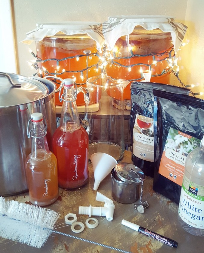 An image of all the supplies discussed in the post, together. It includes two large brewing vessels full of komucha and scoby, wrapped in christmas lights, bottles, funnels, bags of bulk tea, a tea infuser, pot, and more.
