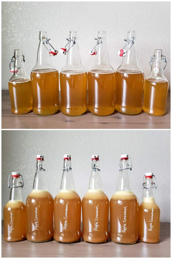 """Two images. One shows plain kombucha in glass bottles, full up to where the curve in the neck starts. The second image shows the same bottles after a few ounces of fruit puree was added. They're now full just an inch or two higher, but not all the way up the neck. The bottles are now labelled with """"apple cinnamon"""" written on them in white chalk pen."""