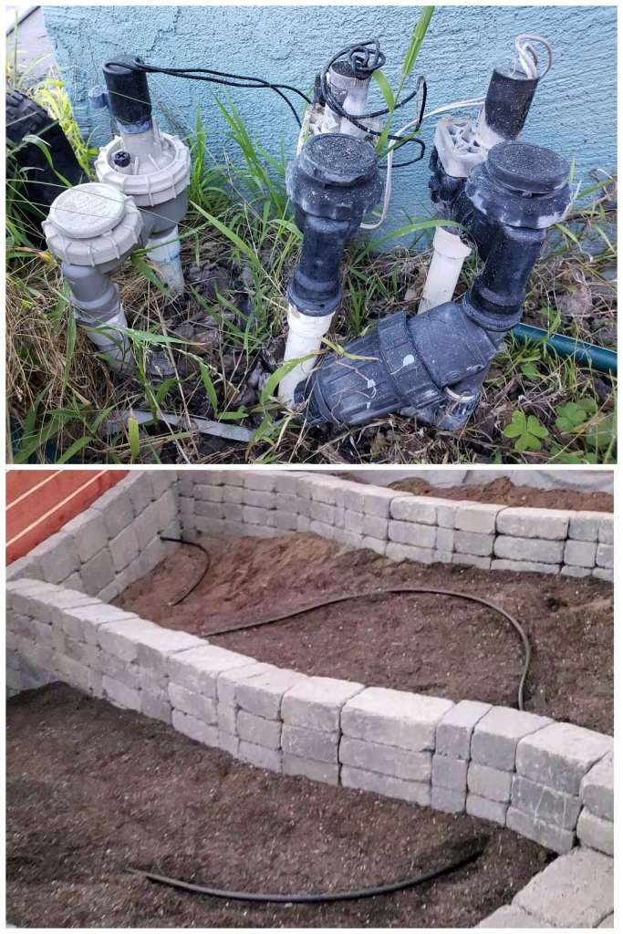 Images of a typical household irrigation system, showing PVC pipes, filters, and timers along the side of a house. Another image shows the black irrigation tubing running in a snake pattern through a newly landscaped area.