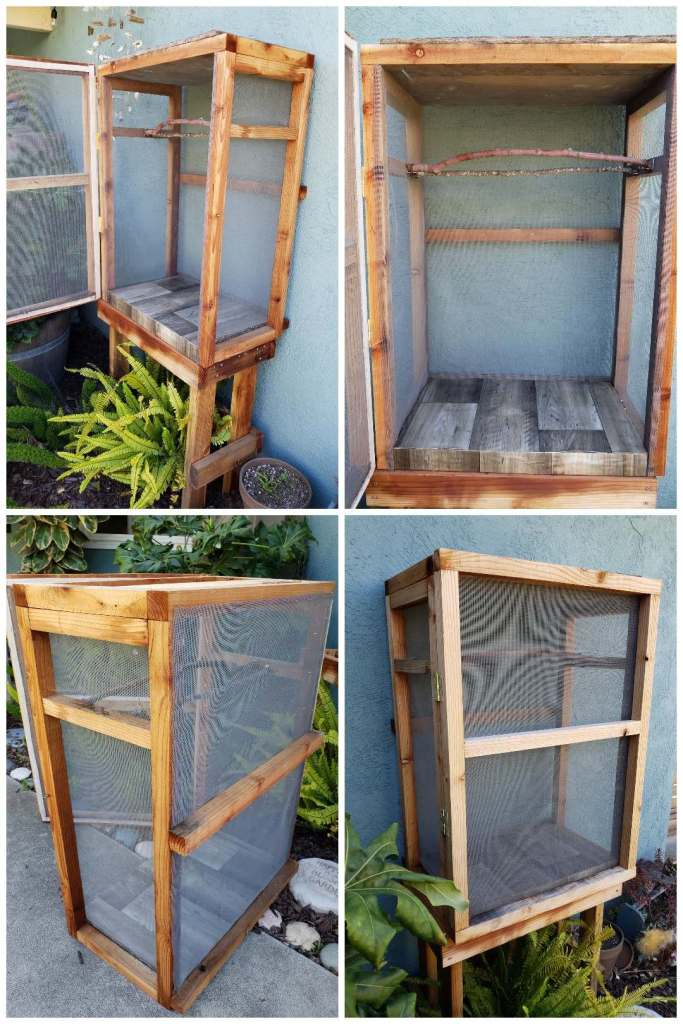 Four images of a wood-frame monarch butterfly enclosure. The wood frame is made with small redwood 2x2 boards. The cage is screened, and is 15 inches deep, 36 inches tall, and 27 inches wide. It has a separate base/stand that it sits on, that we also built to the same depth and width, but is about a foot shorter.
