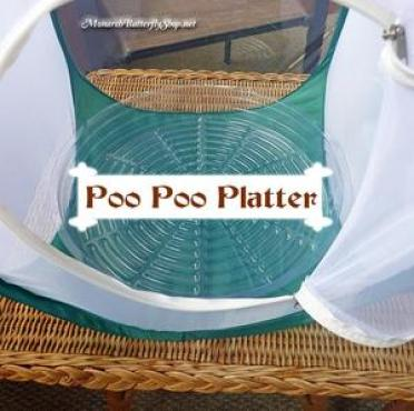 """A small zip-up mesh butterfly tent, with a plastic pot saucer sitting inside. The saucer is labelled """"poo poo platter"""""""