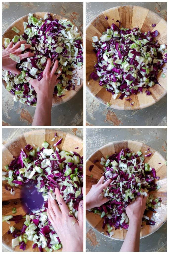 Four images of purple and green cabbage in a large wooden bowl, being massaged with salt. As the photos progress, the cabbage gets smaller, wetter, and more soft looking. A brine liquid is present in the bottom of the bowl by the end.