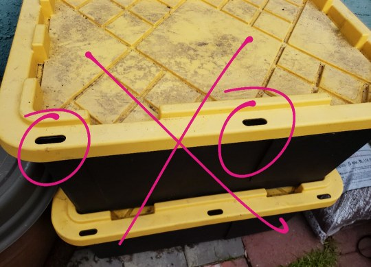 An image of a black storage tote with yellow lid, that has some holes around the outer edge of the lid. This is an example of what type of bin not to get. The holes are circled in the photo.