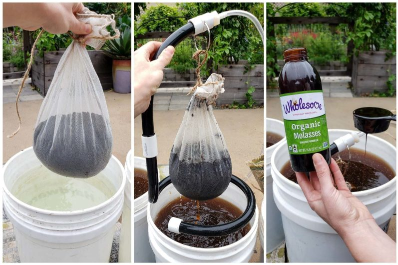 Three images showing the compost tea process. One shows a one-gallon paint strainer full of brown compost, hovering over a 5-gallon bucket of water. Another shows it being dunked and the water turning brown. The last shows organic molasses being added to the tea.