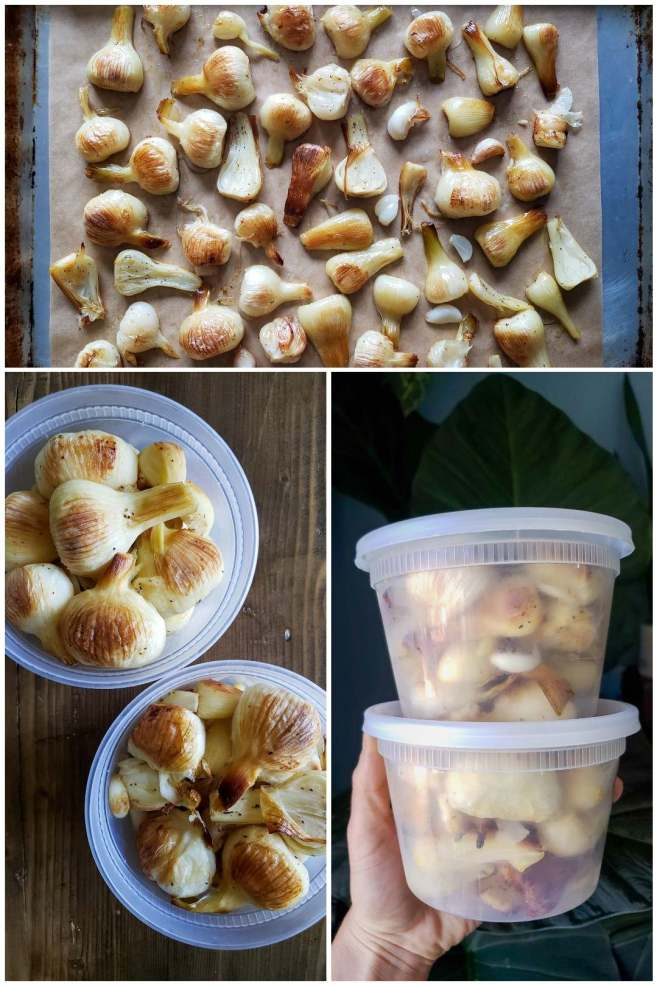 Three images showing how to freeze roasted garlic. The first shows roasted garlic on a cookie sheet, spread out and not touching. The other two show it the brown cloves and heads inside plastic pint containers.