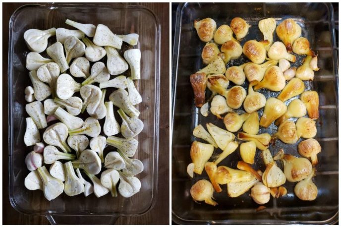 Two images of glass baking pan full of heads of green garlic, cut in half. The first is raw, white, and the second image is after being roasted in the oven, now golden brown.
