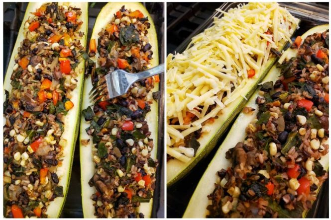 Two images of the stuffed squash after baking. One shows a fork probing the edge of the squash boat, checking to see if it is done. The next shows one half of the stuff squash covered in grated cheese, not yet melted.