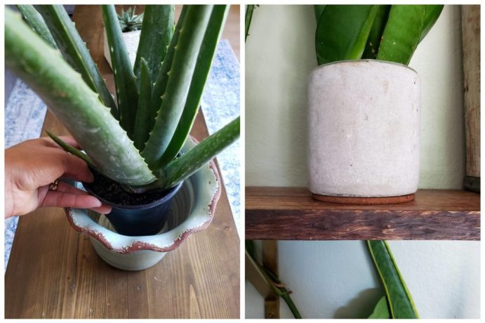 A two part photo collage showing the possibility of placing a smaller pot with proper drainage inside of a larger pot that doesn't have a drain hole. The second part of the photo shows a pot sitting on a cork coaster to help protect the wood shelf it is sitting on.