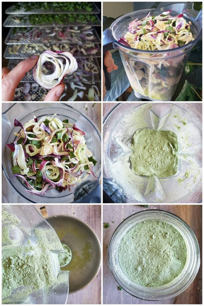 A six way image collage, first showing a hand holding a dried onion ring with its finger and thumb, the dehydrator and racks are in the background, displaying their dried onion pieces. The second image is a blender canister that is full of the dehydrated onion, it is filled to the brim and is being displayed above a large and very dark green house plant to catch the perfect indirect light for the photo. The third image shows a close up above image of the blender canister filled to the brim with dehydrated onion pieces. The fourth image shows a close up above shot of the same blender after the onions have been blended. It is now a fine powder that is  light green to gray in color. The fifth image is a close up above shot of the dried onion being poured into a glass mason jar. The mason jar has a stainless steel canning lid on top of it. The sixth image of the collage shows a close up above shot of the finished product in a mason jar.