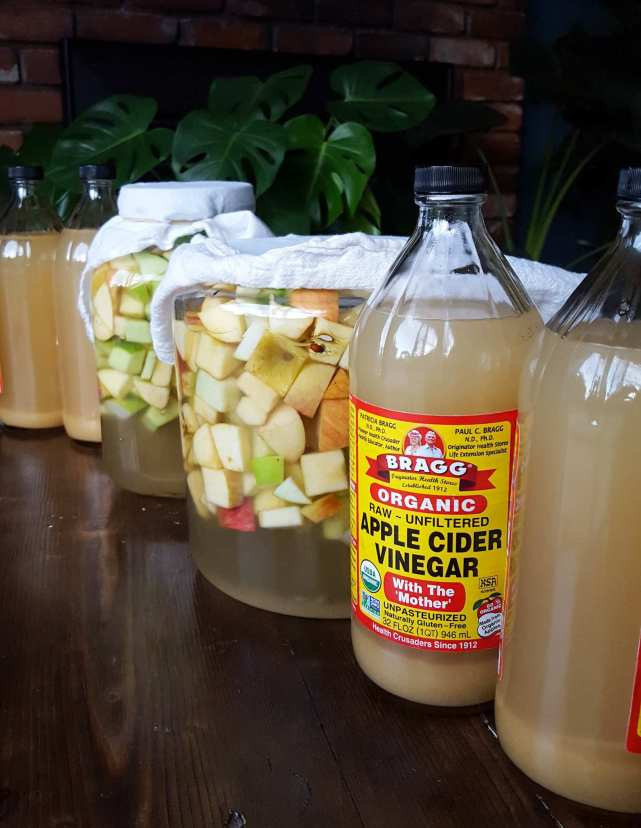 Two full quart jars of apple cider vinegar are lined up on each of the front and backside of two crocks that have just been filled with apples, water, and sugar. It shows the beginning of the process with the apples soaking is sugar water as well as the end product, apple cider vinegar in bottles and ready for use.