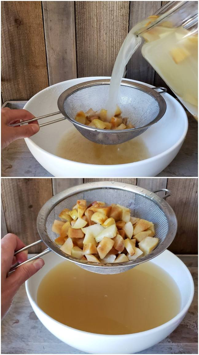 A two way image collage, the first image shows the crock being tipped over and it contents being poured into a large white ceramic bowl. A stainless steel strainer is being held over the bowl, straining all of the apple chunks from the liquid. The second image shows a hand holding the strainer full of apple chunks above the bowl that is now full of soon to be apple cider vinegar.