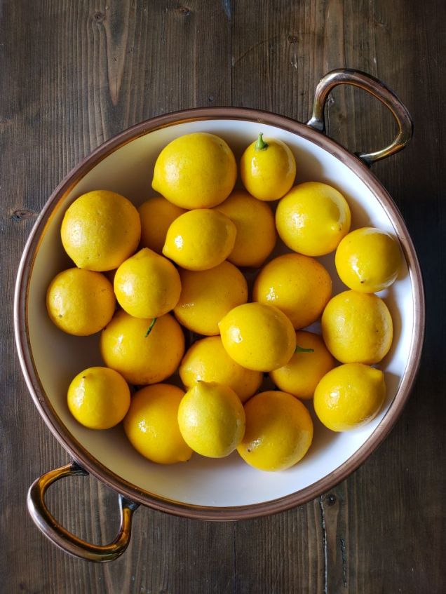 A white mixing bowl with copper lining the top edge and copper handles sits atop a dark barn wood surface. The bowl is full of golden lemons that are glistening in the light after being washed.