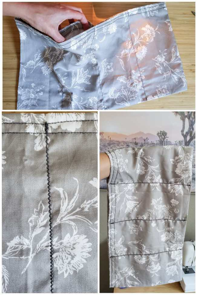 A three way image collage, the first image shows the pillow case being partially lifted of the table, showing that there is now a small pocket opening for each of those five inch separations. The second image shows a close up of a zig zag seem made to reinforce the original seems that were made. The third image shows a hand inserted into the top pocket of the pillow case, letting the rest of the case hang down. The remaining zig zag stitches and seems are now shown for the entire pillow case.