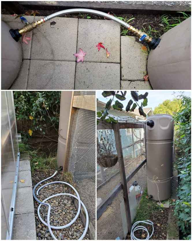 A three way image collage, the first image shows the two rain tanks connected at the bottom of each tank by a hose bib that is connected to a thick pipe. Each one can be opened to  allow the water from one to flow into the next. The second image shows a hose bib connected to a small section of hose at the opposite end of the rain tank as previously shown. This is where the rain water is harvested from fro use in the garden. The third image shows the other rain tank and the hose bib connected to the bottom with a hose lying nearby for easy use.