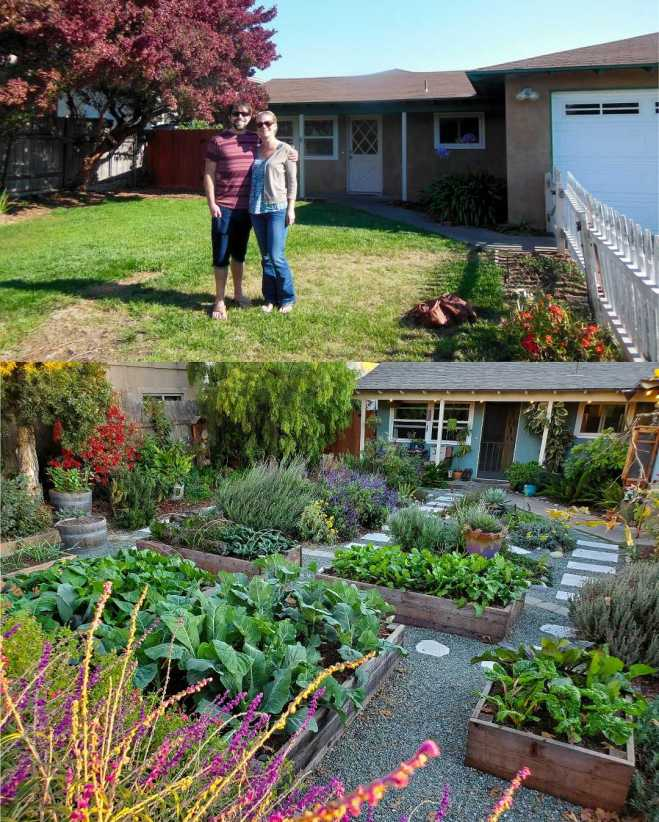 A two part image collage that shows a before and after photograph of the front of the house. The first image shows Aaron and DeannaCat standing in their front yard which is mostly grass. The second image shows a similar angle of the front of the house yet now the yard is full of annual and perennial plants for pollinators, raised garden beds full of vegetables, trees, shrubs, vines, landscaped with gravel and paver walkways.