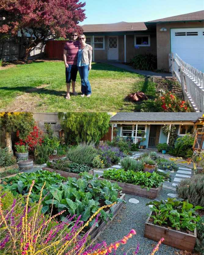 """A two way image collage, the first image shows DeannaCat and Aaron standing in front of their newly purchased house in August of 2013. They are standing in grass in front of a brown house, there is a tree in the corner of the yard that has bright red foliage. The second image shows the same yard but the year is now 2019. The yard are has green rock hardscaping with lined paver walkways. There are garden beds overflowing with vegetables and """"pollinator islands"""" full of flowering perennial and annual plants. The perimeter of the yard is lined with trees, shrubs, and perennial plants as well."""