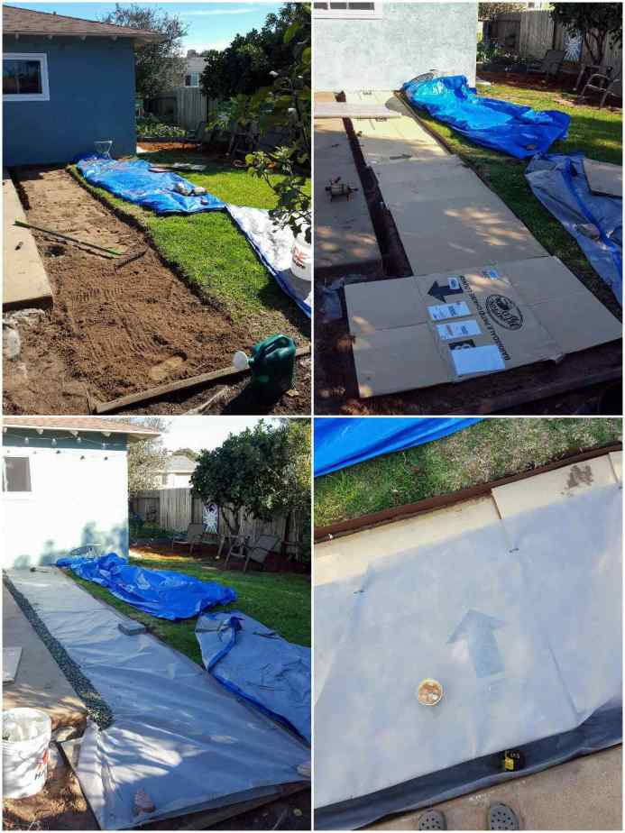 A four way image collage, the first image shows a two or three foot section of dirt surrounding the outside of the patio. The second image shows the bare dirt being covered with cardboard. There are a few blue tarps in the grass beyond. The third image shows the area after it has been lined with landscape fabric over the cardboard and a three inch section closest to the patio has been lined with green rock gravel to act as a french drain. The final image shows a close up of the landscape fabric covering the cardboard. There is a drink sitting on the surface and you can slightly see through the fabric to the cardboard below.