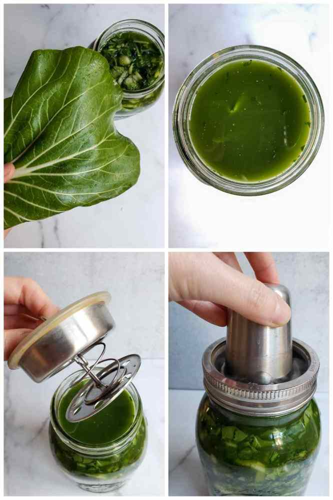 """A four part image collage showing how a bok choy leaf can be used as a cap to keep the ferment vegetable """"floaters"""" below the brine level. It is placed on top of the vegetables, into the brine. The ferment lid and spring or weight is then added on top of the cap to start the fermentation process."""